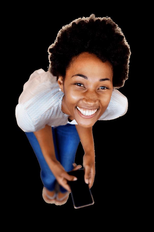 Lady bending laughing